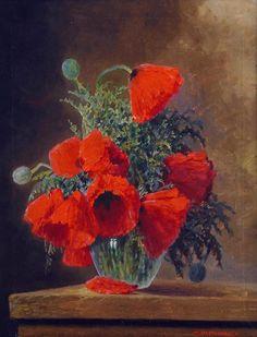 Max Theodor Alexander Julius Streckenbach (1863-1936) — Red Poppies in a Vase (750×982)