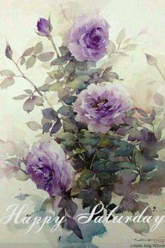 Beautiful purple lavender roses rosebush watercolor art painting by Phatcharaphan Chanthep. Watercolor Illustration, Watercolour Painting, Watercolor Flowers, Painting & Drawing, Watercolors, Arte Floral, Purple Roses, Lavender Roses, Francisco Goya