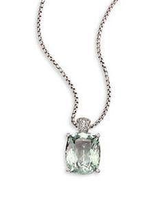 John Hardy - Batu Classic Chain Diamond, Green Amethyst & Sterling Silver Pendant Necklace