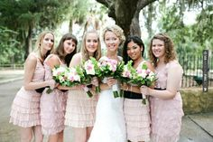 Cool - Light pink bridesmaids dresses (Adria Peaden Photography) | CHECK OUT MORE GREAT PINK WEDDING IDEAS AT WEDDINGPINS.NET | #weddings #wedding #pink #pinkwedding #thecolorpink #events #forweddings #ilovepink #purple #fire #bright #hot #love #romance #valentines #pinky