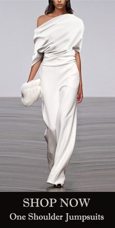Fashion Solid Color Pleated Off Shoulder Wide Leg Jumpsuit Mode einfarbig plissiert off Schulter weites Bein Overall 50 Fashion, Look Fashion, Autumn Fashion, Womens Fashion, White Fashion, European Fashion, Gothic Fashion, Dress Fashion, Latest Fashion