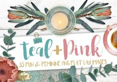 Pretty Teal & Pink PNG image bundle Graphics Create your own unlimited flat lay designs with this pack of 35 pretty Teal & Pink graphics. The by MyCosmicShop Teal Flowers, Paper Flowers, Cosmic Shop, Teal Handbag, Teal Cushions, Flip Image, Pink Candles, Teal And Pink, Rose Tea