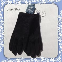 Black Suede Dressy Gloves Dressy suede gloves with detailing that looks like embroidery. Outer shell 100% leather, lining 100% polyester.  Fits like a size 7 or 7 1/2.                                                                                          PayPal Trades Holds Chaps Accessories Gloves & Mittens