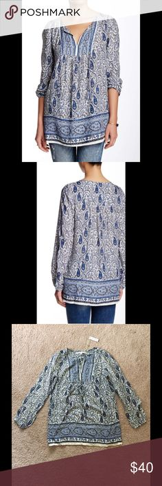 🌟SALE🌟 Max Studio Blouse Elastic cuffs billow the sleeves of a peasant blouse with allover paisley print and tassel strings at the split neck. Split neck, bubble sleeves, long sleeves. 100% rayon. Machine wash cold. Max Studio Tops Blouses
