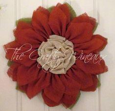 Burnt Sienna Flower Burlap Wreath, Sunflower, Spring Wreath, Summer Wreath, Customizable Wreath - pinned by pin4etsy.com