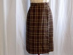 Vintage Wool Brown Plaid Kilt Skirt size 12 by jonscreations