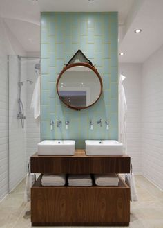For a double dose of color, pair blue tiles with yellow grout lines, as