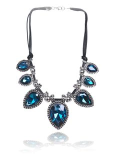Blue Gemstone Silver Drop Necklace