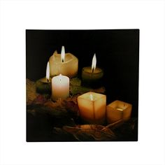 """Grab everyone's attention with this Twinkling LED Canvas Wall Art! Lit candles are the subject of these stunning works of art. LEDs inside the canvas cause the """"candlelight"""" to twinkle like the real thing. It's a eye-catching illusion that also gives you Candle Lanterns, Candle Sconces, Pillar Candles, Flameless Candles, Framed Wall Art, Canvas Wall Art, Chandeliers, Lighted Canvas, Canvas Lights"""