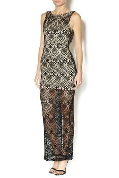 Black lace maxi dress with a half slip underneath, high slit in the back and an exposed back. Style with two strap heels and a bold lip.   Black Lace Maxi Dress by Lovely Day. Clothing - Dresses - Maxi New York City Manhattan, New York City