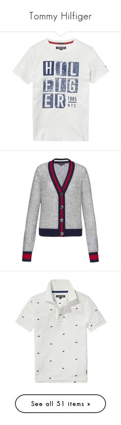 """Tommy Hilfiger"" by tasha1973 ❤ liked on Polyvore featuring tops, t-shirts, graphic t shirts, graphic design tees, tommy hilfiger, white top, graphic print t shirts, cardigans, grey and women"
