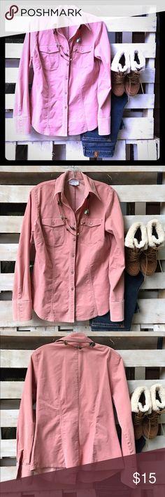 LOFT pink corduroy shirt LOFT pink corduroy shirt. EUC, button up, cotton/spandex blend. LOFT Tops Button Down Shirts