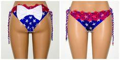 Excited to share the latest addition to my #etsy shop: American Flag Cheeky Bow Bikini Bottom, Fire Red Eyelash Lace Scrunch Butt Cheeky Bikini Bottom, Strappy Brazilian Bikini http://etsy.me/2BYkHbv #clothing #women #swimsuit #brazilianbikini #swimwear #swimsuitbottom