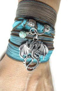 Turquoise Dragon Bracelet Silk Wrap Bracelet Yoga Jewelry Wrist Wrap Boho Asian Wrist Wrap Energy Good Luck Christmas Stocking Stuffer