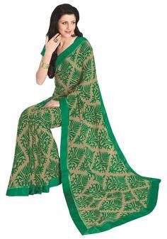 Beige Green Leaf Designer Printed Work Indian Faux Georgette Sari #SareeStudio #SareeSari #CasualWear