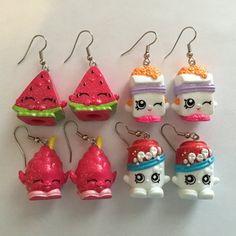 Shopkins Foodie Earrings  made from re-purposed toys  by ErinEtc