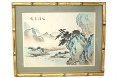 Vintage Mountains and Pagoda Watercolor Painting in Gold Bamboo Frame - Modern Gold Watercolor, Watercolor Paintings, Framed Art, Wall Art, Asian Decor, Faux Bamboo, Chinoiserie, Vintage World Maps, Mountains
