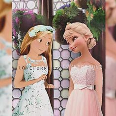 Rapunzel And elsa modern modern princess