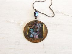 Vintage tin copper stamped wire wrapped pendant ball chain necklace Bird Fly Flowers Handmade Jewelry Recycled Tin