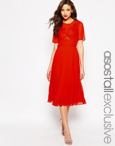 Image 1 ofASOS TALL Midi Skater Dress with Lace and Pleat