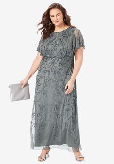 Luxurious, allover beading lends this gown elegance perfect for the most special occasions. Plus Size Gowns Formal, Plus Size Wedding Guest Dresses, Plus Size Maxi Dresses, Plus Size Outfits, Mother Of The Bride Dresses Plus Size, Dresser, Stylish Work Outfits, Wedding Dress Chiffon, Glam Dresses