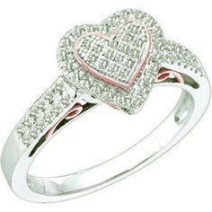 Thanks for Sharing!  0.30 Carat (ctw) 10k White Gold Brilliant White Diamond Ladies Two Tone Heart Promise Ring - Dazzling Rock #https://www.pinterest.com/dazzlingrock/