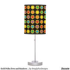 Gold Polka Dots and Rainbow Stars Lamp