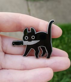 A little hard enamel pin of a tiny dangerous friend! Pin is approx wide, comes with two pinbacks- choose from black rubber backings or metal butterfly clasps. This pin is my original design Little Presents, Jacket Pins, Stickers, Cool Pins, Pin And Patches, Pin Badges, Crazy Cat Lady, Crazy Cats, Lapel Pins