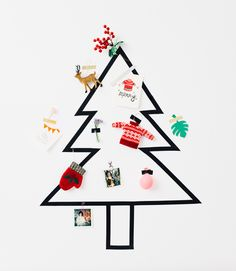 A Tape Tree http://asubtlerevelry.com/10-last-minute-christmas-ideas