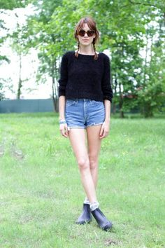 Cutoffs with a sweater and ankle boots will take your favorite jean shorts into the fall or a cloudy day! You can even add sheer or printed tights to complete the look!