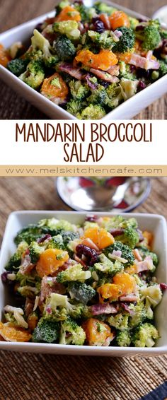 A super yummy combination of fresh broccoli, mandarin oranges, bacon, craisins, and toasted almonds - the creamy, tangy, sweet dressing is fabulous!