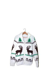 Vintage Cowhichan Reindeer Sweater Hand Knit by founditinatlanta