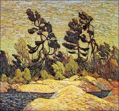 Quality print by Group Of Seven artist Tom Thomson - Byng Inlet Georgian Bay; Made In Canada. Canadian Painters, Canadian Artists, Landscape Art, Landscape Paintings, Winter Landscape, Watercolor Landscape, Group Of Seven Art, Tom Thomson Paintings, Munier