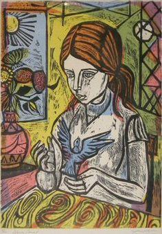 Blue Bird, a Woodcut by Irving Amen