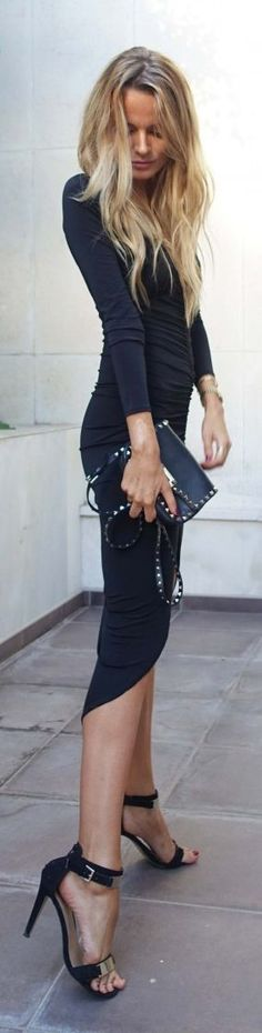classic black asymmetrical dress