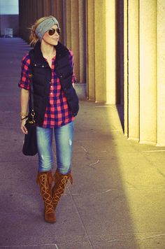 Cozy flannel and puffer vest with minnetonka moccasins.