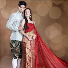 Traditional Thai Dress for Couple Thai Traditional Dress, Traditional Wedding Dresses, Traditional Outfits, Traditional Design, Cambodian Wedding, Khmer Wedding, Thai Fashion, Indian Fashion, Men's Fashion