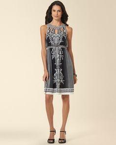Soma Intimates Keyhole Dress Oasis Floral Black #somaintimates. Cost of dress is $69.