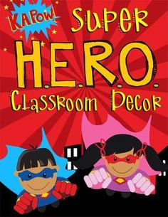 SUPER Hero (brown children) - Classroom Decor - binder co
