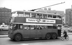 In 1951 Manchester Corporation Transport took delivery of the only Crossley TDD64 chassis built, complete with Crossley H36/30R 8-feet wide bodywork, numbered 1240 to 1255 JVU745-760. 1253 JVU758 is seen in Miller Street on 23 April 1959 on service 213 to Greenhays.