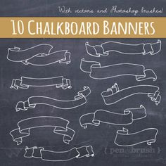 Chalkboard Banners & Ribbons Clip Art // Hand by thePENandBRUSH, $6.00