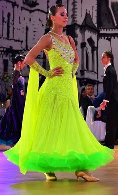 Lime Green Crinoline / Horsehair Braid at the hem of Ballroom Competition Dress.