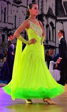 Lime Green Crinoline / Horsehair Braid at the hem of Ballroom Competition Dress.