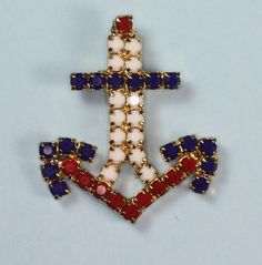 Vintage Anchor Pendant Red White and Blue Beaded Pendant Necklace via Etsy