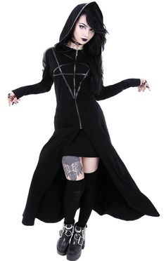 I love this gothic outfit! Made to Order TRAILBLAZER JACKET Fit and flare waist creates flattering silhouette - Oversized hood - gothic fashion - black jacket. NNT #jacket #ad #gothic  #gothgirl #gothicbeauty