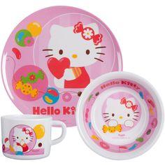 Hello Kitty Frühstücks-Set 3-teilig, 1 Teller, 1 Müslischale, 1 Becher