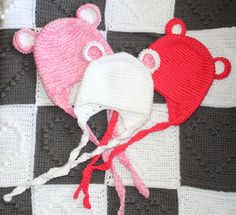 Crochet Baby Girl Hat Beanie with Ears Knitted by KThandmadeDesign