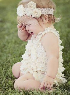 Lace Romper Baby Romper Ivory Romper Newborn by PoshPeanutKids, $42.99