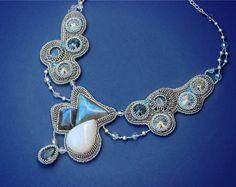 Statement choker necklace, bead embroidered luxury jewelry, labradorite, grey, blue
