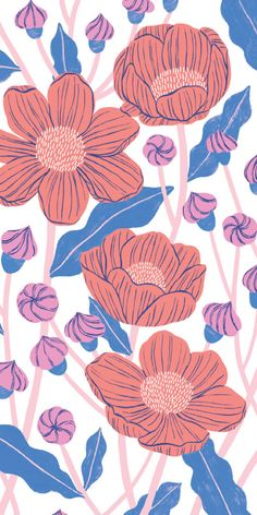Emily Taylor is a freelance illustrator and surface designer living and working in Toronto, Canada. Flower Background Wallpaper, Pastel Wallpaper, Flower Backgrounds, Love Wallpaper, Iphone Wallpaper, Floral Embroidery Patterns, Print Patterns, Floral Illustrations, Illustration Art